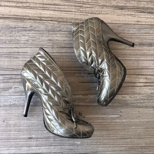 BCBGgirls leather silver quilted booties